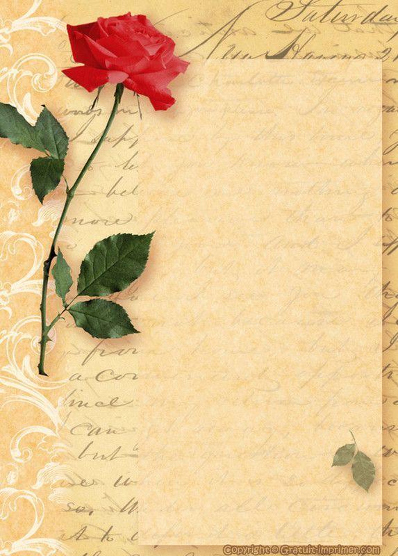 papier a lettres roses rouges